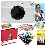 KODAK Printomatic Cámara instantánea (Gris) Paquete de Arte con Papel fotográfico Zink (20 Hojas) y más