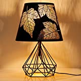 Albrillo E27 Lámpara de Mesilla - Luz Nocturna Retra con Pantalla Hueca de Metal, Patrón de Arce y Base Geométrica, Bombilla E27 de 60 W máx. Lámpara de Noche para Dormitorio, Sala de estar, Oficina