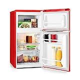 Klarstein Monroe Red 2020 Edition - Nevera con congelador, Frigorífico combi, Minibar, Capacidad total 85 L, 40 dB, Estantes de cristal, Eficiencia energética Clase F, Estilo vintage, Rojo