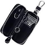 Rovtop Estuches de Llave- Capacidad:una Llave de Moto o Coche y Unas Pequenas Llavero de Piel con Cremallera Organizador de Llaves Portallaves de Piel