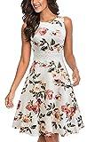 HOMEYEE UKA079 - Vestido de cóctel para mujer, cuello redondo, sin mangas, con flores bordadas, largo hasta la rodilla, estilo vintage Blanco y flores. M
