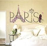 Logobeing Pegatina de Pared Vinilo Adhesivo Decorativo Para Cuartos, Dormitorio,Sala, ... Vista de Paris Torre Eiffel Decorativos Para El Hogar (Negro)