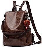 Anti-robo Mujer Mochila de Cuero de pu mochila de Bolsa de mano Mochilas Casual Bolsa de viaje Messenger Bag Backpack (café)