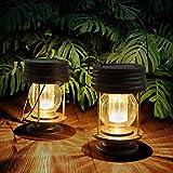2 Farolillos Solares Exterior Solar para Decoración de Mesa, Luces LED para Exteriores, Estacas de Jardín, para árbol, Pabellón, Patio (Warm Light)