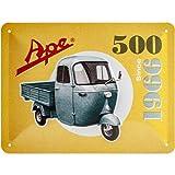 Nostalgic-Art Cartel de Chapa Retro Ape – 500 Since 1966 – Idea de Regalo para los Fans de Italia, metálico, Diseño Vintage Decorativo, 15 x 20 cm