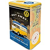 Nostalgic-Art Caja de café Retro Bulli T1 – Let's Get Away – Idea de Regalo de Furgoneta Volkswagen, Lata con Tapa aromática, Diseño Vintage, 1,3 l