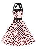 Dressystar Vestidos Corto Cuello Halter Estampado Flores y Lunares Vintage Retro Fiesta 50s 60s Rockabilly Mujer Blanco Rojo Lunares XS