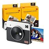 Kodak C300R Mini Shot 3, Cámara Instantánea De Fotos con Impresora + 68 Fotos, Bluetooth, Formato Cuadrado 76X76 Mm, Compatible con iPhone y Android, Tecnología 4Pass - Blanco
