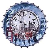 Relojes de paredReloj de pared 34 cm Estilo Retro Tapa de la botella de cerveza Reloj de pared silencioso para el hogar Cafetería Decoración Torre de hierro Reloj de cuarzo Temporizador moderno