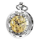 ManChDa Hombres Transparente Abierto de la Cara Reloj de Bolsillo Plata Esfera Esqueleto con Cadena + Caja de Regalo