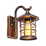 VanMe Antigua Herrería Rústica Lámpara De Pared Exterior Impermeable Lámpara De Pared De Luz Vintage Candelabro De Pared Pasillo,Brown