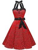 Aupuls AUP1957 Vestido Mujer Sin Manga Retro Vintage 50s 60s Para Ocación Formal y Causal Rojo XS