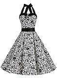 Dressystar Vestidos Corto Cuello Halter Estampado Flores y Lunares Vintage Retro Fiesta 50s 60s Rockabilly Mujer Cráneo XS