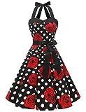 Dressystar Vestidos Corto Cuello Halter Estampado Flores y Lunares Vintage Retro Fiesta 50s 60s Rockabilly Mujer Negro Blanco Rosa XS