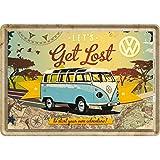 Nostalgic-Art 10223 Volkswagen VW Bulli/Let's Get Lost, Blechpostkarte, 10 x 14 CM