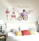 LuckES Eiffel Bicicleta Chica Decoración 3D Decor Adhesivos Mujeres Pegatina de pared vinilo adhesivo decorativo para cuartos dormitorio cocina Dormitorio 3D Espejo De Pared Pegatinas (multicolored)