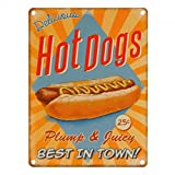Hot Dogs retro Diner style Cartel de Chapa Placa metal Estable plano Nuevo 15x20cm VS5387-1
