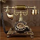 Tikwisdom Resina de imitación de cobre estilo vintage rotatorio retro antigua esfera rotativa para el hogar y la oficina, teléfono teléfono para el hogar y la sala de estar decoración