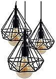 Lámpara de Techo Vintage 3L Cage Retro Iluminación E27 Capacidad AC220-240 V para Comedor, Dormitorio, Café, Barra de Lectura Luz para la decoracion del salon, restaurante