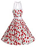 Dressystar Vestidos Corto Cuello Halter Estampado Flores y Lunares Vintage Retro Fiesta 50s 60s Rockabilly Mujer Careza2 XS