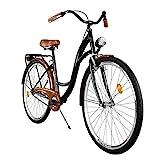 Milord Bikes Cómoda Bicicleta de Ciudad, Bicicleta, 1 Velocidades, Rueda de 28', Negro-Marrón
