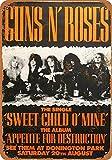 Guns n'Roses Póster De Pared Metal Retro Placa Cartel Cartel De Chapa Vintage Placas Decorativas Poster por Café Bar Garaje Salón Dormitorio
