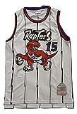 WOLFIRE WF Camiseta de Baloncesto para Hombre, NBA,Toronto Raptors #15 Vince Carter #1 Tracy McGrady Bordado, Transpirable y Resistente al Desgaste Camiseta para Fan Hardwood Classics (C Blanco, L)