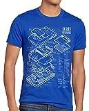 style3 8 bit Videoconsola Portátil Cianotipo Camiseta para Hombre T-Shirt, Talla:L, Color:Azul
