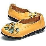 gracosy Mocasines para Mujer Primavera/Verano Vintage Flores Hechas a Mano Zapatos de Cuero Estilo Mocasines Cómodo Slip On Shoes Alpargatas Zapatos de Conducción Zapatos para Caminar