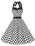 Dressystar Vestidos Corto Cuello Halter Estampado Flores y Lunares Vintage Retro Fiesta 50s 60s Rockabilly Mujer Blanco Negro Lunares XS