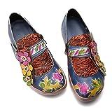 gracosy Mocasines de Cuero Merceditas Zapatos Planos para Mujer Verano Slip-On Hecho a Mano Cómodo Primavera Mocasines Vintage Patrón de Flores Barco Al Aire Libre Casual Zapatos para Caminar