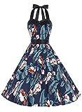 Dressystar Vestidos Corto Cuello Halter Estampado Flores y Lunares Vintage Retro Fiesta 50s 60s Rockabilly Mujer Hojas Flores XL