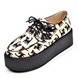RoseG Lovely Gato Creepers Plataforma Cordones Zapatos Mujer Amarillo Size37