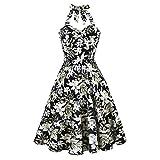 Uni-Wert Vestidos de Cóctel Mujer Cortos Halter Estampado Flores Elegante 50s Vintage Retro Rockabilly Audrey Cocktail Dress