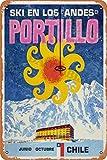 RuFS Portillo,Chile,Vintage Ski Cartel de Chapa Pared Hierro Retro Pintura Placa Chapa Vintage Arte Creatividad Decoración Artesanías para Cafe Bar Garaje Hogar