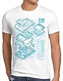 style3 8 bit Videoconsola Portátil Cianotipo Camiseta para Hombre T-Shirt, Talla:L, Color:Blanco