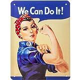 NOSTALGIC Cartel de Chapa Retro USA – We Can do it – Idea de Regalo para la Cocina, metálico, Diseño Vintage para decoración Pared, 15 x 20 cm