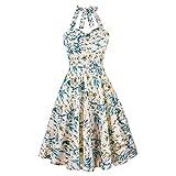 Uni-Wert Vestidos de Floral Corto Halter 1950s Vintage Retro Cóctel Rockabilly Elegante Vestido
