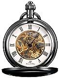 KS Reloj de Bolsillo Hombre con Cadena Esqueleto Mecánico Vintage Negro KSP006