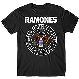 LaMAGLIERIA Camiseta Hombre Ramones - Classic Colors Logo Camiseta Rock 100% algodòn, L, Negro