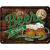 Nostalgic-Art Cartel de Chapa Retro Beer O' Clock Glasses – Idea de Regalo para los Aficionados a la Cerveza, metálico, Diseño Vintage, 15 x 20 cm
