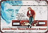 Fluse 1955 James Dean Rebel Without a CAU Vintage Metal Art Chic Retro Metal Cartel de Chapa Signos de Metal de 8x12 Pulgadas