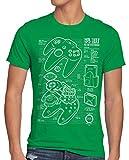 style3 64 bit Gamepad Cianotipo Camiseta para Hombre T-Shirt, Talla:L, Color:Verde