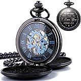 ManChDa Reloj de bolsillo personalizado grabado para papá, reloj de bolsillo vintage mecánico steampunk con cadena para hombres, regalo del día del padre, bonito regalo para tu papá.