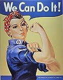 Desperate Enterprises MS0796 Rosie The Rivetor - Placa Decorativa de Metal (33 x 40 cm), Color Azul, Amarillo, Blanco y Rojo