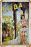 RuFS Cuba Cartel de Chapa Pared Hierro Retro Pintura Placa Chapa Vintage Arte Creatividad Decoración Artesanías para Cafe Bar Garaje Hogar