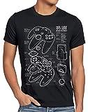 style3 64 bit Gamepad Cianotipo Camiseta para Hombre T-Shirt, Talla:L, Color:Negro