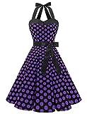 Dressystar Vestidos Corto Cuello Halter Estampado Flores y Lunares Vintage Retro Fiesta 50s 60s Rockabilly Mujer Negro Violeta Lunares S