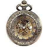 manchda® Retro reloj de bolsillo para los hombres las mujeres especial lupa mitad Hunter elegante grabado caso Steampunk esqueleto mecánico movimiento con cadena + caja de regalo