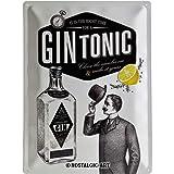 Nostalgic-Art Gin Tonic Placa Decorativa, Metal, Gris y Negro, 30 x 40 cm